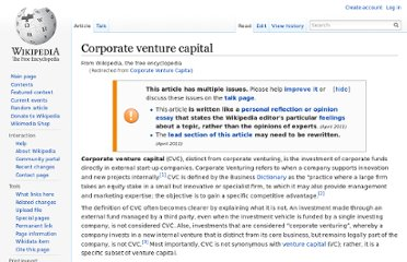 http://en.wikipedia.org/wiki/Corporate_Venture_Capital