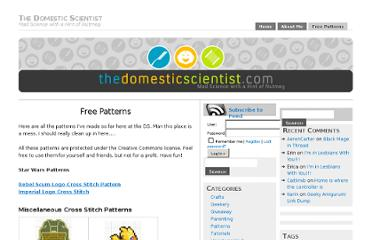 http://www.thedomesticscientist.com/free-patterns/