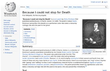 http://en.wikipedia.org/wiki/Because_I_could_not_stop_for_Death
