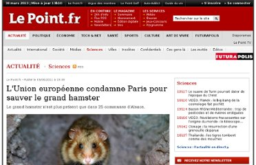 http://www.lepoint.fr/science/l-union-europeenne-condamne-paris-pour-sauver-le-grand-hamster-09-06-2011-1340559_25.php