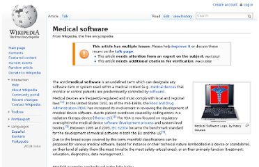 http://en.wikipedia.org/wiki/Medical_software