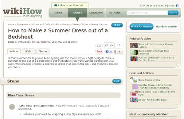 Craft Ideas Vintage Handkerchiefs on Http   Www Wikihow Com Make A Summer Dress Out Of A Bedsheet