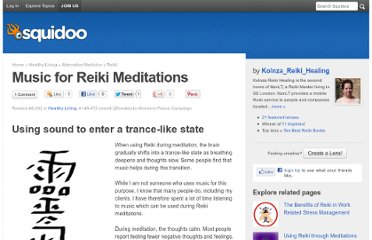http://www.squidoo.com/music-for-reiki-meditations