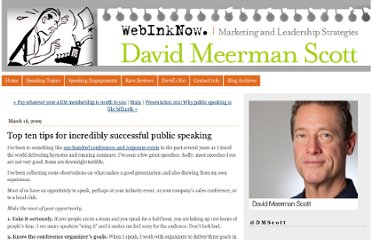 http://www.webinknow.com/2009/03/top-ten-tips-for-incredibly-successful-public-speaking.html
