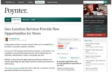 http://www.poynter.org/latest-news/top-stories/108465/geo-location-services-provide-new-opportunities-for-news/