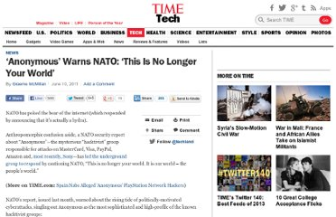 http://techland.time.com/2011/06/10/anonymous-warns-nato-this-is-not-your-world/