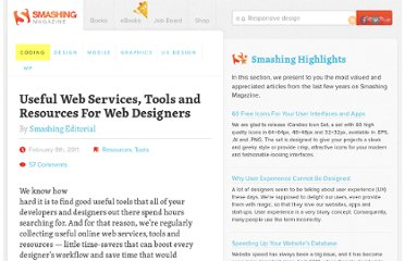 http://coding.smashingmagazine.com/2011/02/08/useful-web-services-tools-and-resources-for-web-designers/