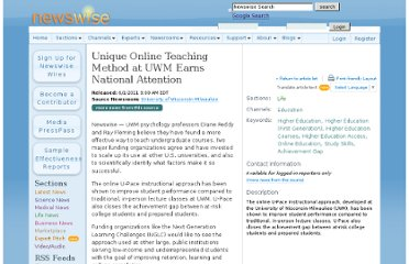 http://www.newswise.com/articles/unique-online-teaching-method-at-uwm-earns-national-attention2
