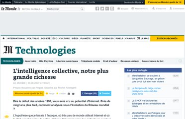 http://www.lemonde.fr/technologies/article/2007/06/23/l-intelligence-collective-notre-plus-grande-richesse_927305_651865.html