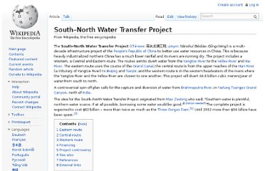 http://en.wikipedia.org/wiki/South%E2%80%93North_Water_Transfer_Project