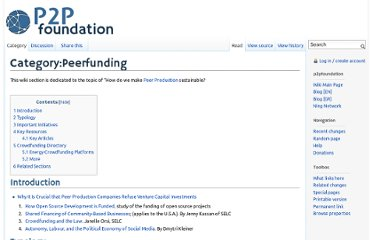 http://p2pfoundation.net/Category:Peerfunding