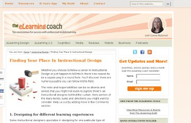 http://theelearningcoach.com/elearning_design/find-your-place-in-instructional-design/