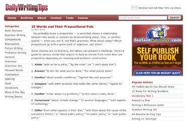 http://www.dailywritingtips.com/25-words-and-their-prepositional-pals/