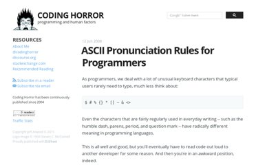 http://www.codinghorror.com/blog/2008/06/ascii-pronunciation-rules-for-programmers.html