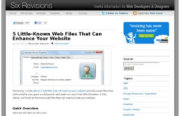 http://sixrevisions.com/web-development/5-little-known-web-files-that-can-enhance-your-website/
