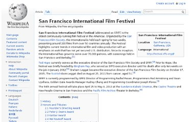 http://en.wikipedia.org/wiki/San_Francisco_International_Film_Festival