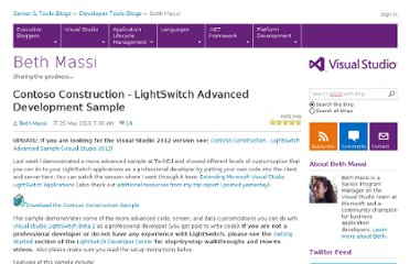 http://blogs.msdn.com/b/bethmassi/archive/2011/05/25/contoso-construction-lightswitch-advanced-development-sample.aspx