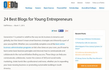 http://oedb.org/library/beginning-online-learning/50-blogs-for-young-entrepreneurs