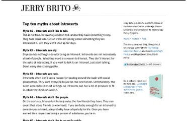 http://jerrybrito.org/post/6114304704/top-ten-myths-about-introverts