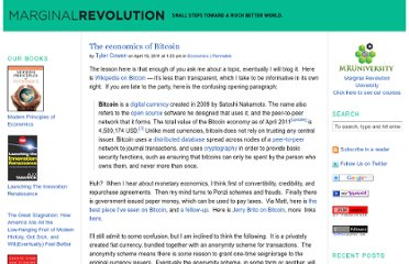 http://marginalrevolution.com/marginalrevolution/2011/04/the-economics-of-bitcoin.html