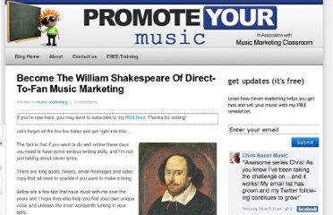 http://www.promoteyourmusic.net/music-marketing/william-shakespeare-directtofan-music-marketing