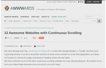 http://www.awwwards.com/12-awesome-websites-with-continuous-scrolling.html