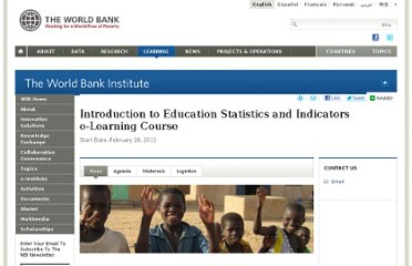 http://wbi.worldbank.org/wbi/event/introduction-education-statistics-and-indicators-e-learning-course