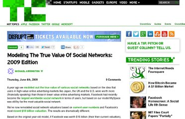 http://techcrunch.com/2009/06/04/the-true-value-of-social-networks-the-2009-updated-model/
