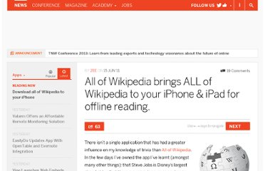 http://thenextweb.com/apps/2011/06/15/all-of-wikipedia-brings-all-of-wikipedia-to-your-iphone-ipad-for-offline-reading/