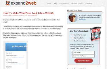 http://www.expand2web.com/blog/how-to-make-wordpress-look-like-a-website/