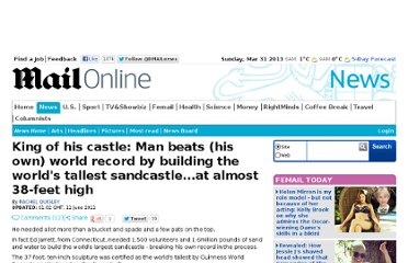 http://www.dailymail.co.uk/news/article-2002328/Man-beats-record-building-worlds-tallest-sandcastle.html