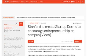 http://thenextweb.com/video/2011/06/16/stanford-to-create-startup-dorms/