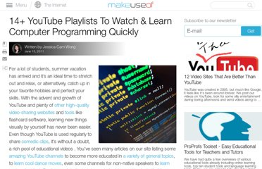 http://www.makeuseof.com/tag/14-youtube-playlists-watch-learn-computer-programming-quickly/