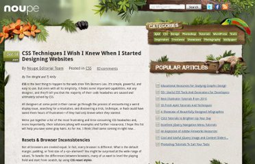 http://www.noupe.com/css/css-techniques-i-wish-i-knew-when-i-started-designing-websites.html