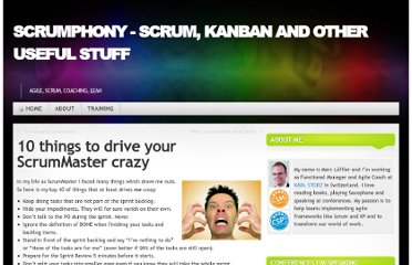 http://blog.scrumphony.com/2010/06/10-things-to-drive-your-scrummaster-crazy/