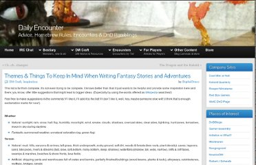 http://dailyencounter.net/2011/02/05/themes-things-to-keep-in-mind-when-writing-fantasy-stories-and-adventures/