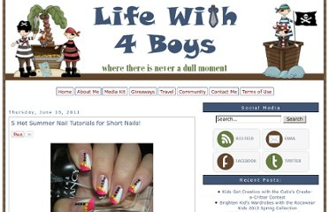 http://www.lifewith4boys.com/2011/06/5-hot-summer-nail-tutorials-for-short.html