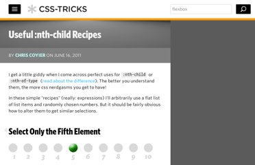 http://css-tricks.com/useful-nth-child-recipies/