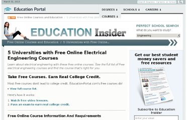 http://education-portal.com/articles/5_Universities_with_Free_Online_Electrical_Engineering_Courses.html