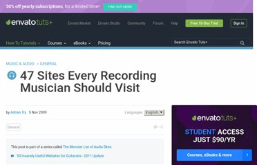 http://audio.tutsplus.com/articles/general/47-sites-every-recording-musician-should-visit/