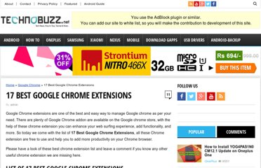 http://www.technobuzz.net/17-popular-google-chrome-extensions/