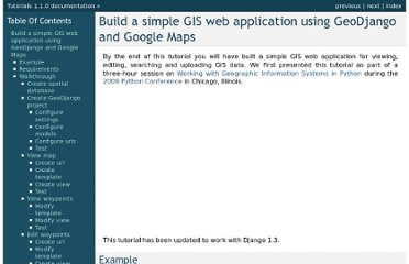 http://invisibleroads.com/tutorials/geodjango-googlemaps-build.html