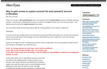 https://alieneyes.wordpress.com/2006/10/23/how-to-gain-access-to-system-account-the-most-powerful-account-in-windows/