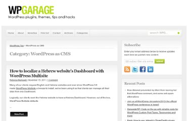 http://wpgarage.com/category/wordpress-as-cms/