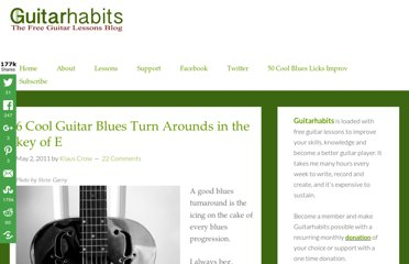 http://www.guitarhabits.com/6-cool-guitar-blues-turn-arounds-in-the-key-of-e/