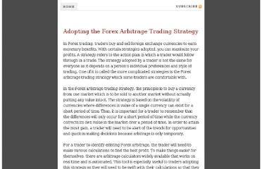 Fx arbitrage trading strategies
