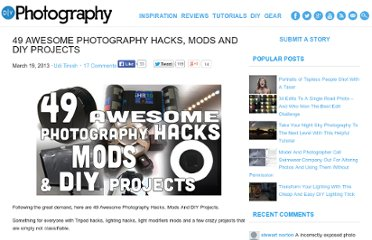 http://www.diyphotography.net/49-awesome-photography-hacks-mods-and-diy-projects