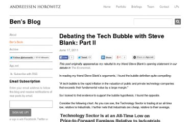 http://bhorowitz.com/2011/06/18/debating-the-tech-bubble-with-steve-blank-part-ii/