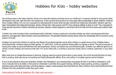 http://www.indianchild.com/hobbies_for_kids.htm
