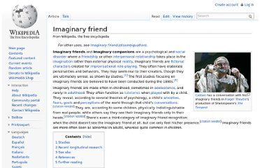 http://en.wikipedia.org/wiki/Imaginary_friend